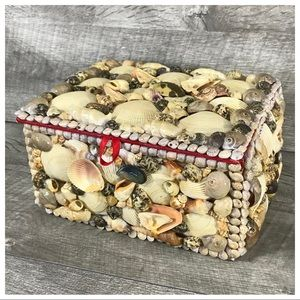 Huge Vintage Sea Shell Art Jewelry Trinket Box